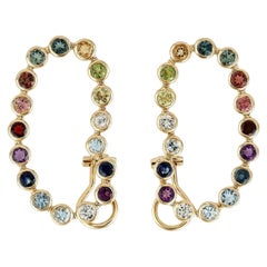 Multi Gemstone 18 Karat Gold Rainbow Earrings