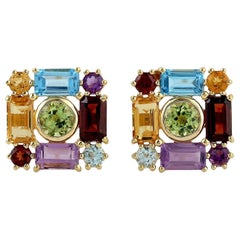 Multi Gemstone 18 Karat Gold Square Stud Earrings