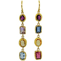 Multi-Gemstone 22 Karat Gold Asymmetrical Dangle Earrings