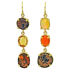 Multi-Gemstone and Ancient Coin 22 Karat Gold Asymmetrical Dangle Earrings