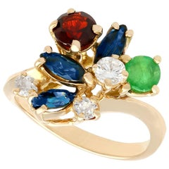 Multi-Gemstone and Diamond Yellow Gold Cocktail Ring