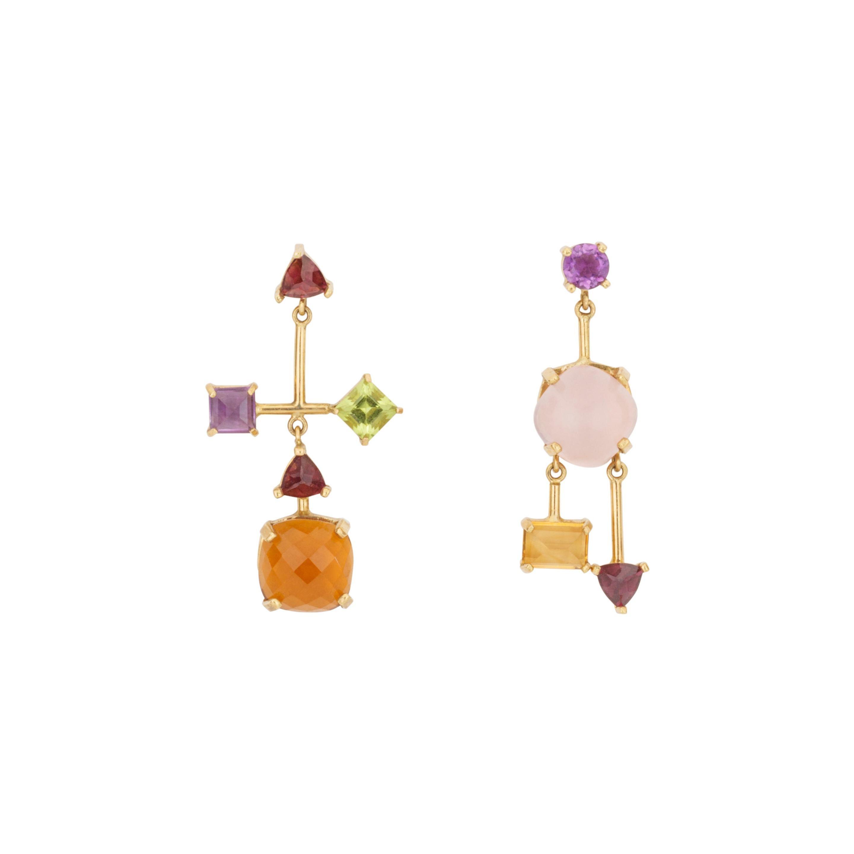 Multi Gemstone Asymmetrical 18K Rose Quartz Topaz Dangle Chandelier Earrings