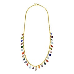 Multi-Gemstone Charm Gold Chain Necklace