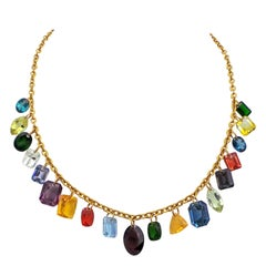 Multi-Gemstone Charm 22k Gold Chain Necklace