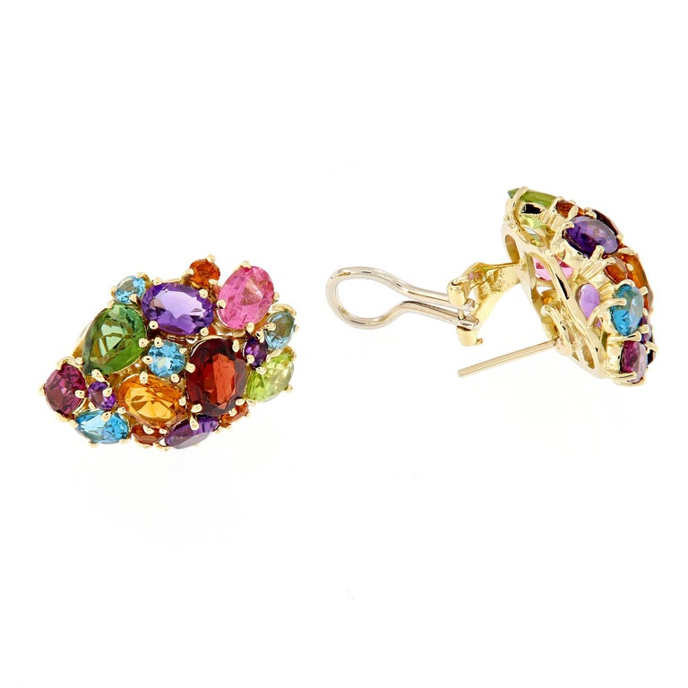 Multi Gemstone Cluster Yellow Gold Earrings In New Condition For Sale In Troy, MI
