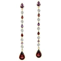 Multi Gemstone Diamond 18 Karat Gold Linear Earrings