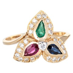 Multi Gemstone Diamond Ring Vintage 14 Karat Gold Pear Cut Cocktail Jewelry