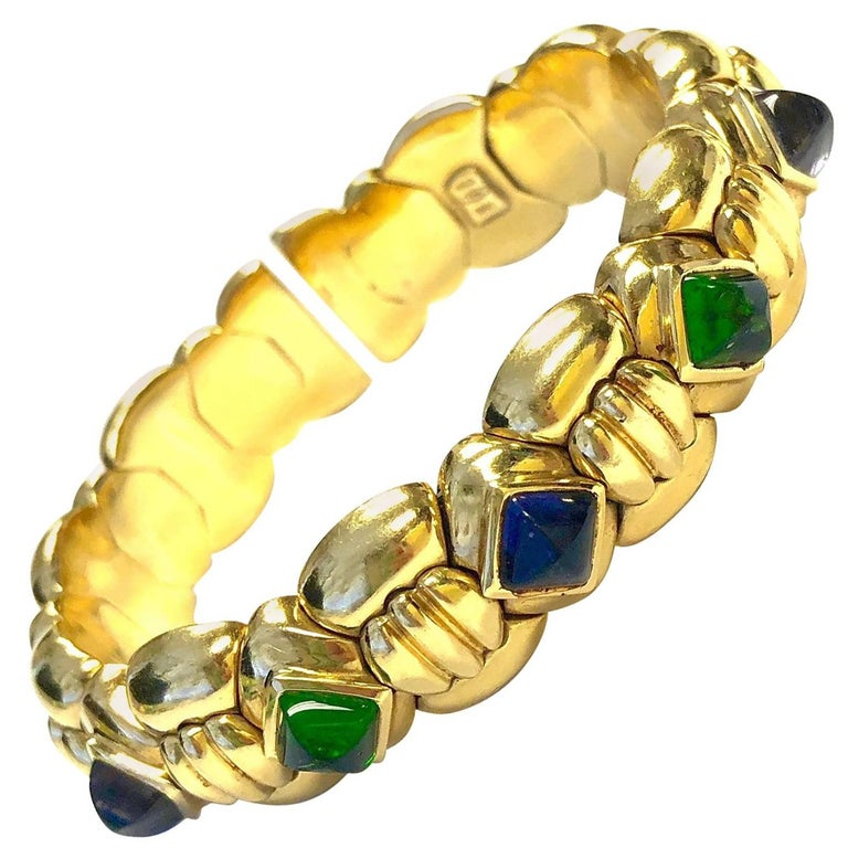 Multi-Gemstone Flexible Gold Cuff Bracelet