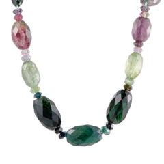 Multi-Gemstone Gold Collar Necklace