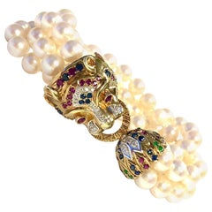 Multi Gemstone Gold Panther Four Strand Pearl Bracelet