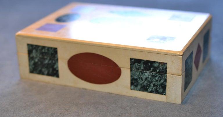 Italian Multi-Gemstone Intarsia Box Made in Florence, Italy For Sale