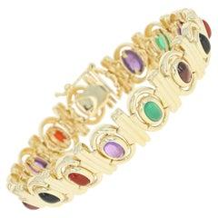 Multi-Gemstone Link Bracelet, 14 Karat Gold Amethyst Chalcedony Onyx Tourmaline