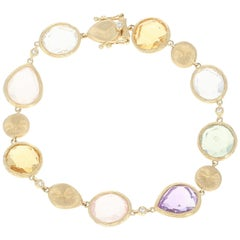Multi-Gemstone Link Bracelet, 14 Karat Yellow Gold .10 Carat