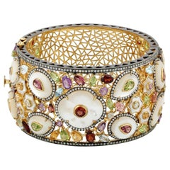 Multi Gemstone Mother of Pearl Diamond Bracelet Cuff