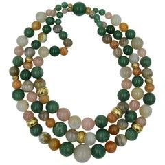 Multi-Gemstone Retro Modern Midcentury 14 Karat Gold Bead Necklace 3 Strands