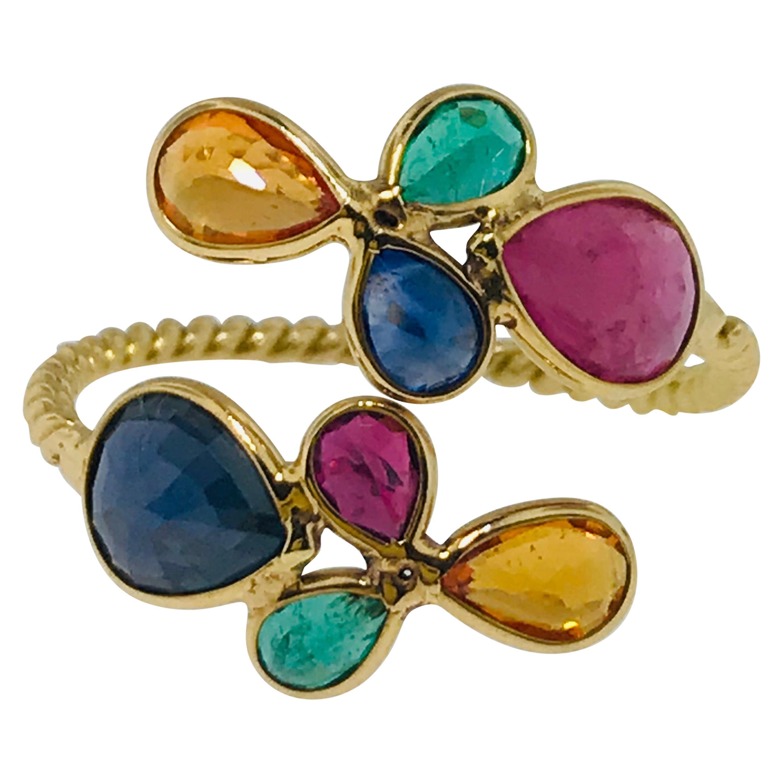 Multi-Gemstone Ring in 18 Karat Gold Adjustable, Ruby,  Sapphire, Emerald, 18kt