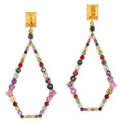 Multi Gemstone Sapphire 18 Karat Gold Earrings