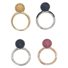 Multi Gemstone Sapphire Ball Rings French Hallmark 18 Karat Gold