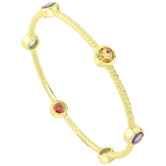 14K Yellow Gold-Plated Sterling Silver Multi Gemstone Station Bangle