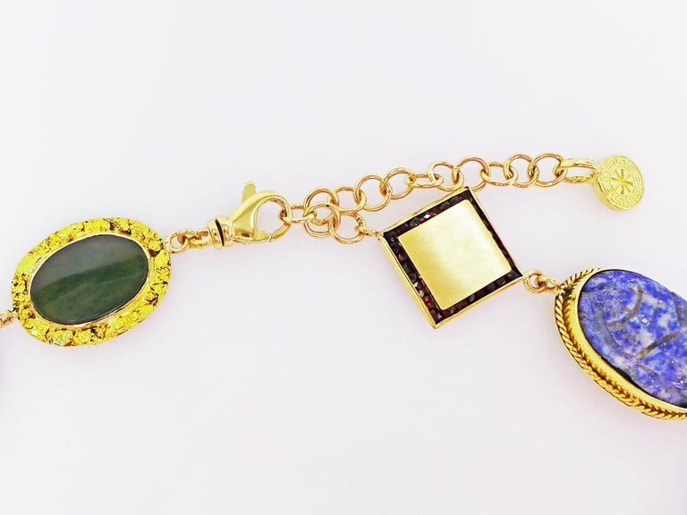 Women's Multi-Gemstone, Vintage Pendant and Ancient Coin Bohemian Necklace For Sale