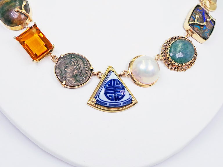 Multi-Gemstone, Vintage Pendant and Ancient Coin Bohemian Necklace For Sale 1
