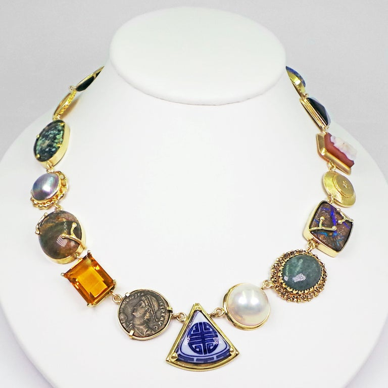 Multi-Gemstone, Vintage Pendant and Ancient Coin Bohemian Necklace For Sale 2