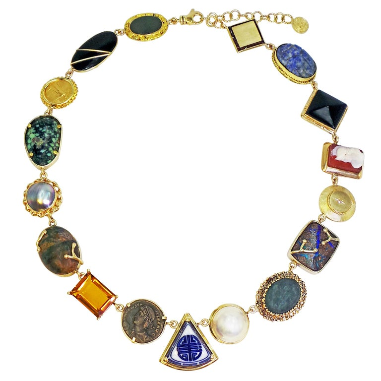 Multi-Gemstone, Vintage Pendant and Ancient Coin Bohemian Necklace For Sale