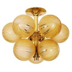 1960 Swiss Temde Max Bill Golden Flush Mount Multi Glass Globes & Brass
