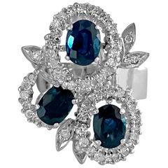 Multi Head 3.00 Carat Cornblue Sapphire and Diamond Ring