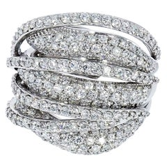 Multi-Layered Diamond Pave White Gold Domed Cocktail Ring