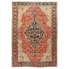 Multi-Layered Medallion Antique Persian Sarouk-Ferahan Rug in Red and Blue