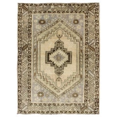 Multi-Layered Medallion Vintage Turkish Oushak Rug in Cream and Shades of Brown