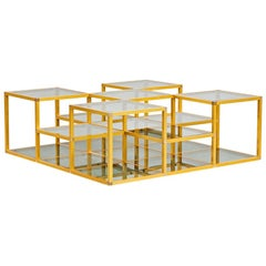 Multi-Level Italian Midcentury Golden Frame and Smoked Glass Sofa Table, 1960s