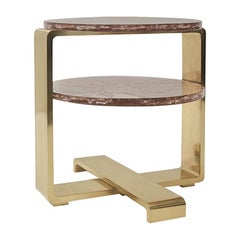 Multi-Leveled Cracked Crystal Resin and Brushed Brass Cocktail Table