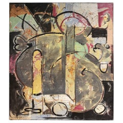 Multi Media Abstract Painting by Artist Jacques Lamy
