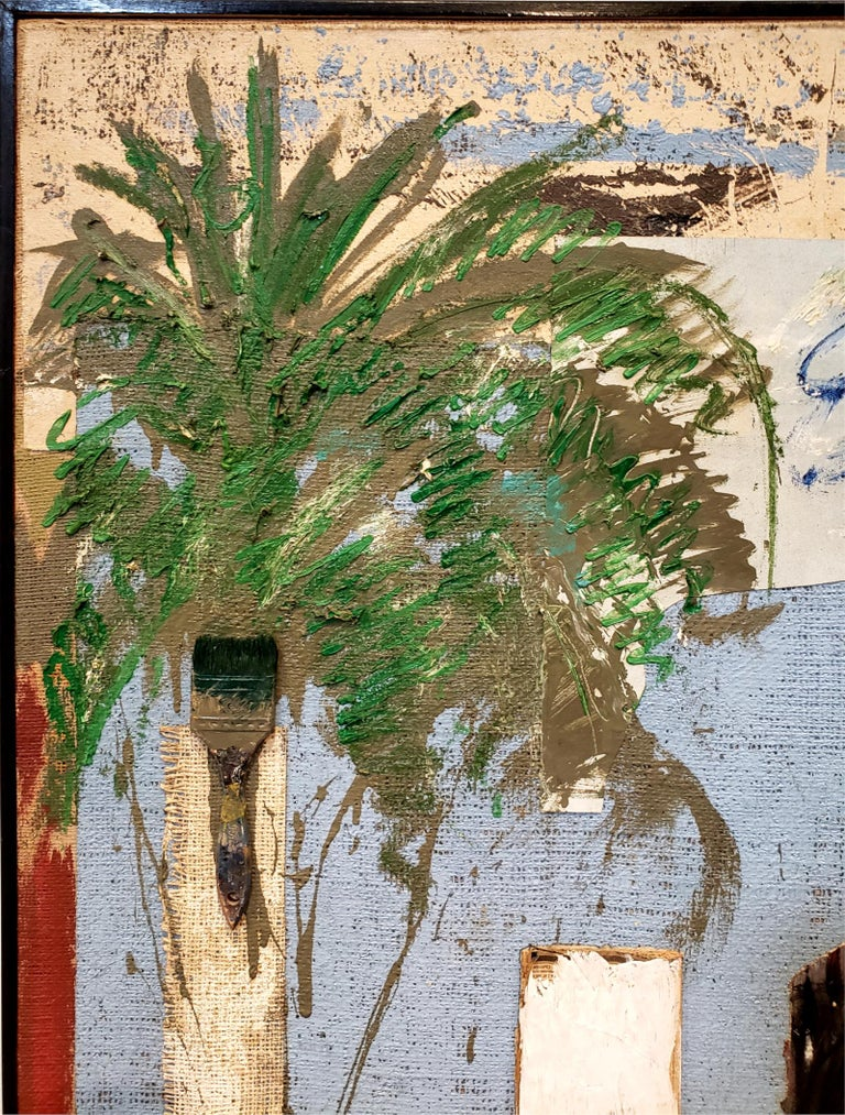 Painted Multi Media Moodscape by Artist Jacques Lamy For Sale
