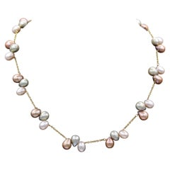 Multi Pearl Necklace 14Karat Yellow Gold Multi Color Pearls Beaded in Gold Chain