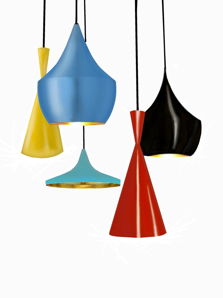 Multi-Pendant Enameled Brass Beat Chandelier by Tom Dixon Custom Red Black Blue In Good Condition For Sale In Brooklyn, NY