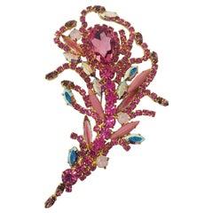 Multi Pink and Aurora Borealis Vintage Swarovski Feather Brooch