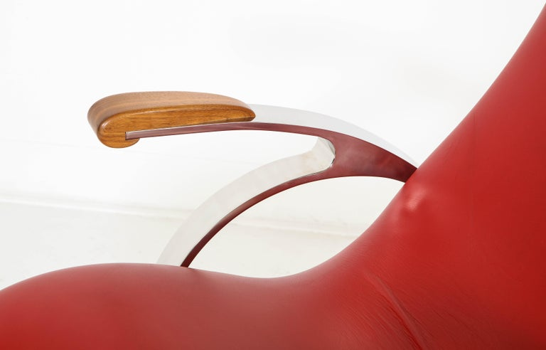 Multi-Position Reclining Chair in Red Offered by Vladimir Kagan Design Group For Sale 5