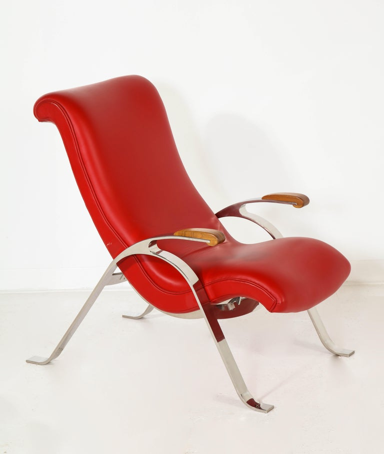 Multi-Position Reclining Chair in Red Offered by Vladimir Kagan Design Group For Sale 9