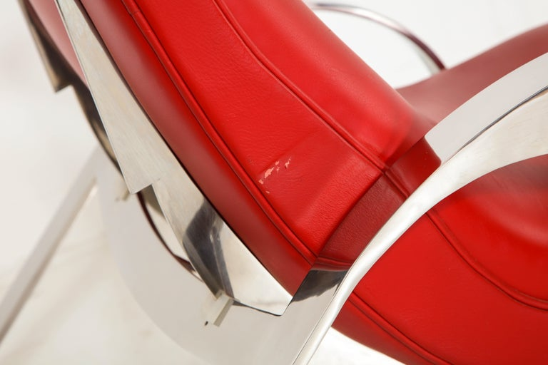 Multi-Position Reclining Chair in Red Offered by Vladimir Kagan Design Group For Sale 10