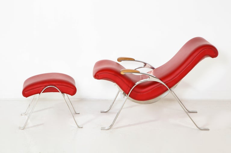 Modern Multi-Position Reclining Chair in Red Offered by Vladimir Kagan Design Group For Sale
