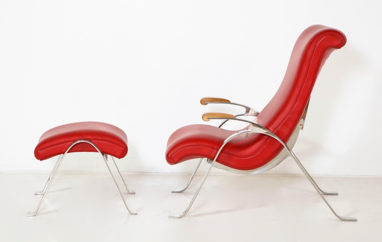 American Multi-Position Reclining Chair in Red Offered by Vladimir Kagan Design Group For Sale