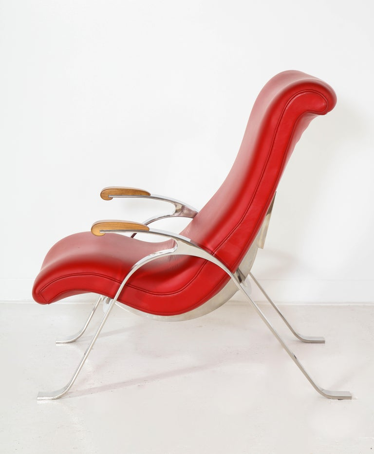 Contemporary Multi-Position Reclining Chair in Red Offered by Vladimir Kagan Design Group For Sale