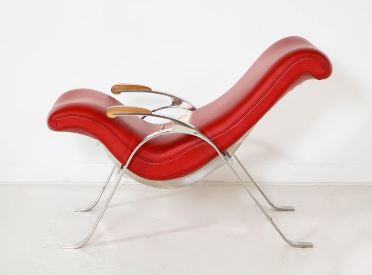 Multi-Position Reclining Chair in Red Offered by Vladimir Kagan Design Group For Sale 1