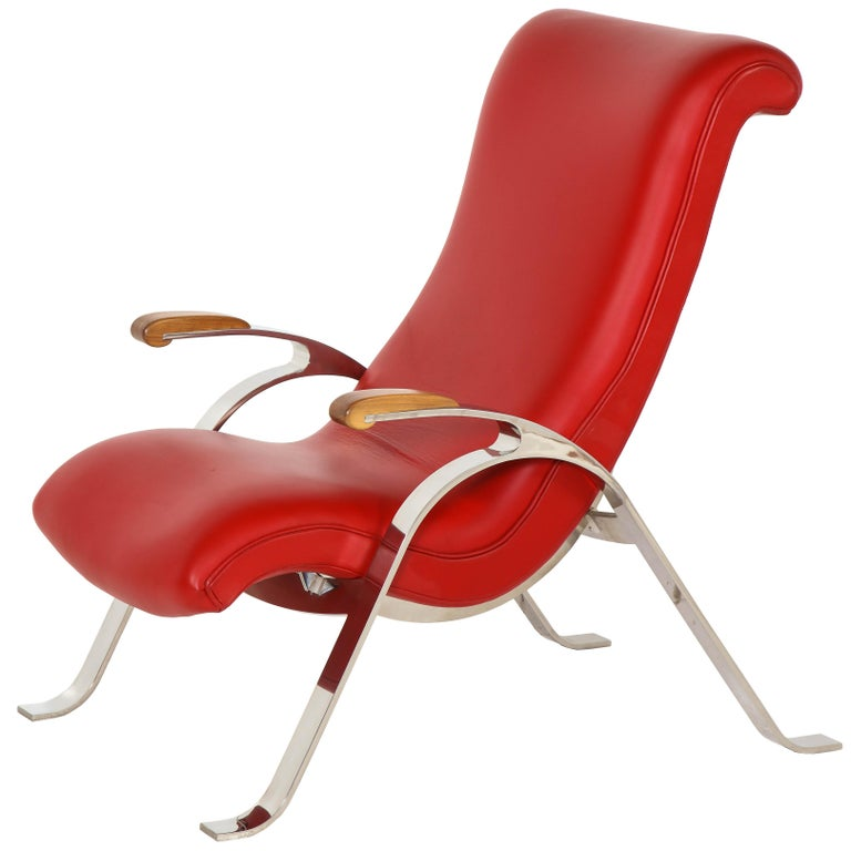 Multi-Position Reclining Chair in Red Offered by Vladimir Kagan Design Group For Sale