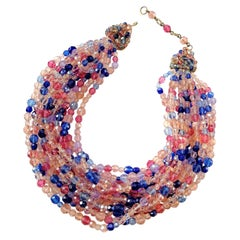 Multi row pink, raspberry and blue beaded necklace, Coppola e Toppo, 1950s
