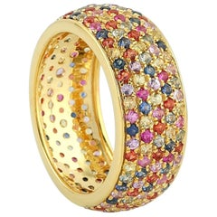 Multi Sapphire 18 Karat Gold Band Ring