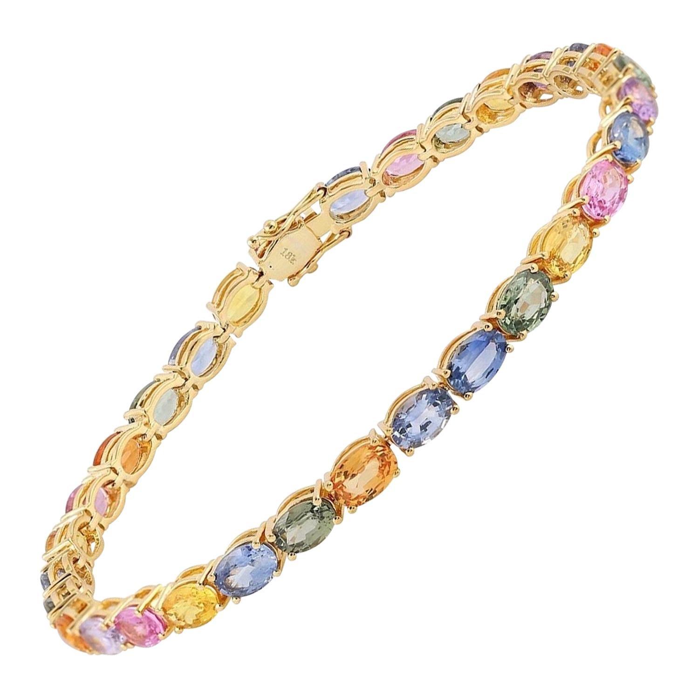 Multi Sapphire 18 Karat Gold Bangle Bracelet